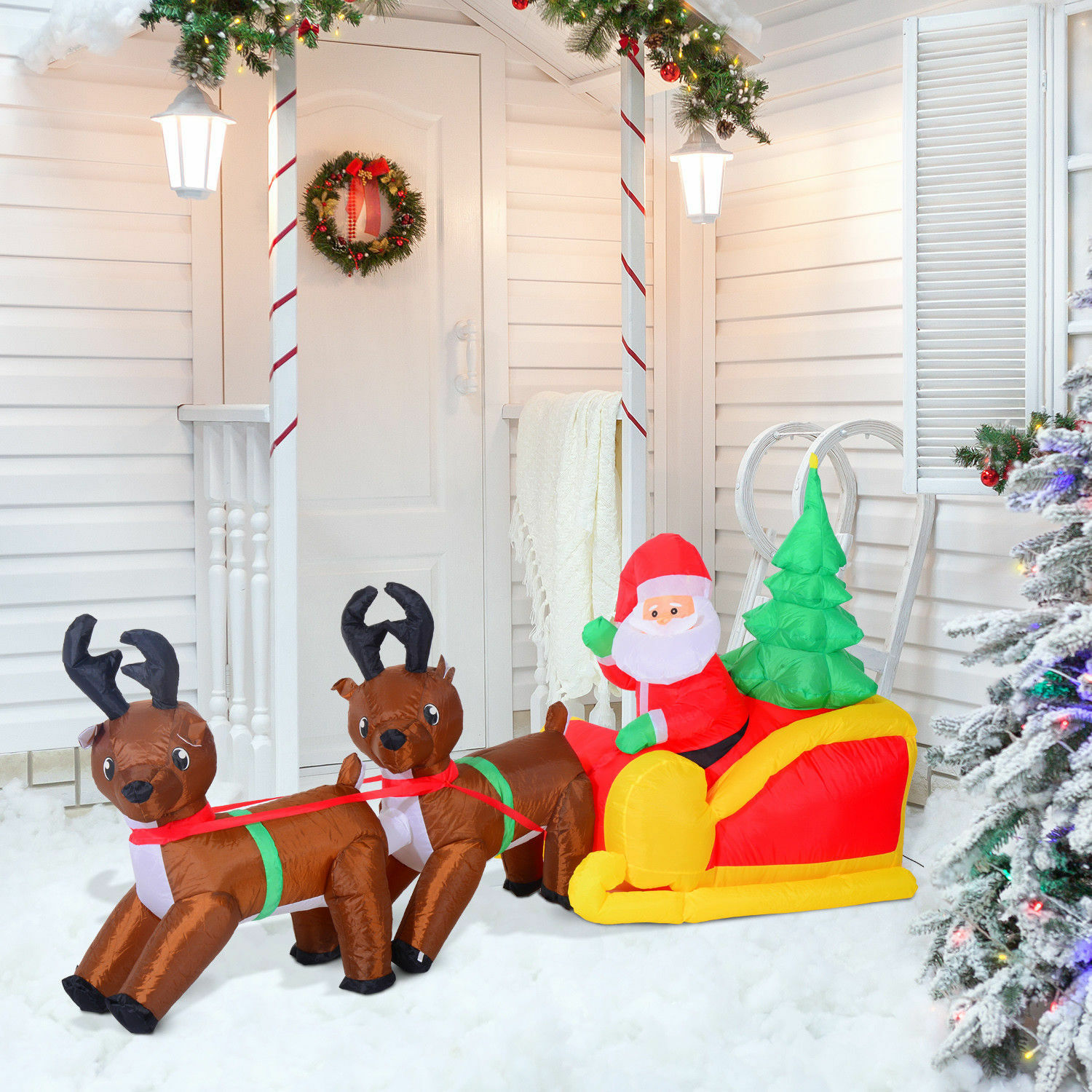 7ft Inflatable Christmas Santa Claus & Reindeerlighted Airblown Yard ...