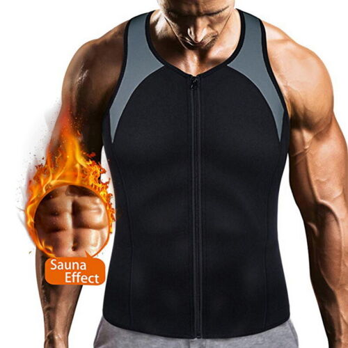 Mens Waist Trainer Vest Weight Loss Hot Neoprene Corset Body Shaper Full Zipper