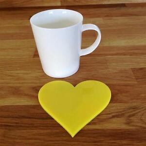 """En forme de cœur jaune brillant acrylique Coasters- ensembles de 4- 6 ou 8- 11 cm 4""""-afficher le titre d`origine AdNZq5GS-07183726-276282684"""
