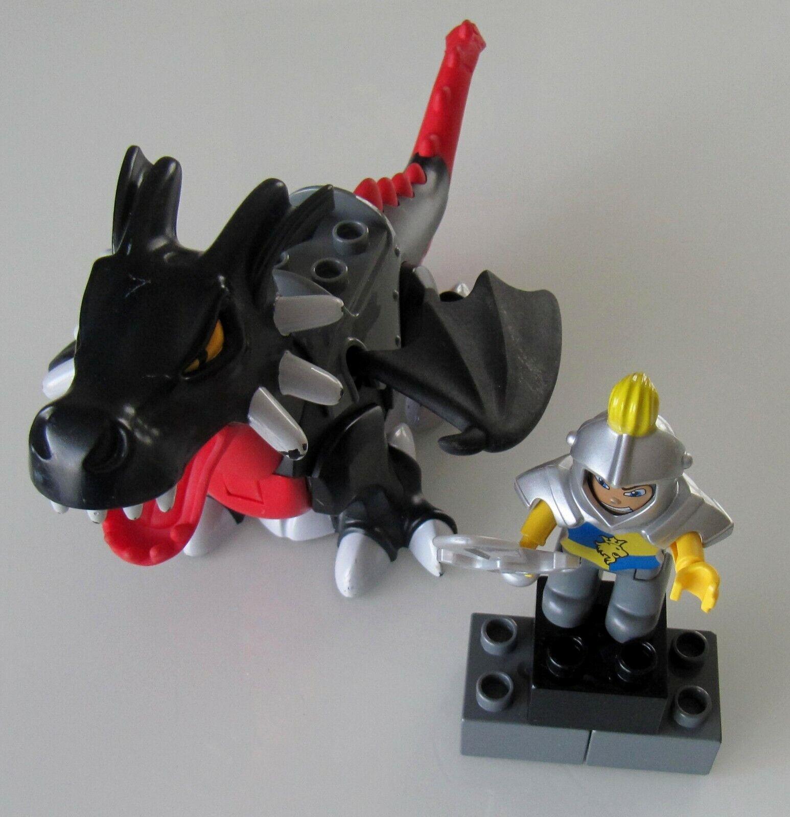 TOP ZUSTAND ZUSTAND ZUSTAND  Lego DUPLO 4784 großer schwarzer Drache mit Ritter   Unbeschädigt 43ff44