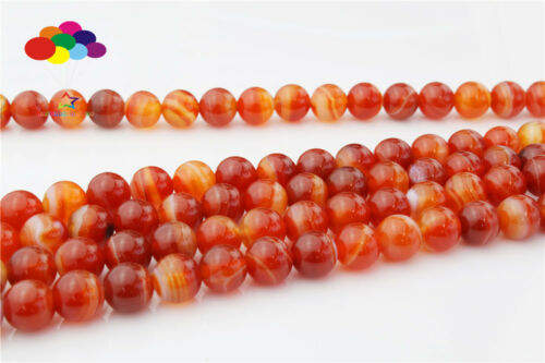 Diy 4//6//8//10//12mm Natural red stripes stone Round Beads fit bracelet necklace
