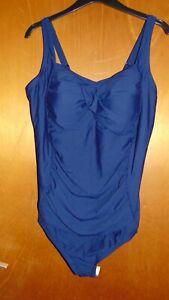 0e457bd7f94 M&S 'Secret Slimming' Padded Bandeau Swimsuit 26 Navy BNWT | eBay
