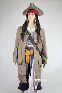JACK-SPARROW-Pirate-FULL-COSTUME-Belts-Wig-Coat-Vest-Shirt-Pants-Sash-Baldric