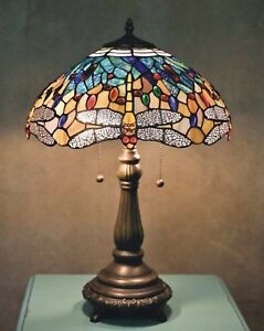 Image Is Loading Tiffany Table Lamp Yellow Dragonfly 23 In Bronze