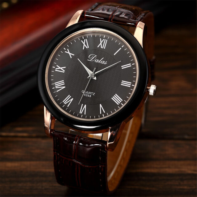 Fashion Women's Stainless Steel Brown Leather Analog Military Sport Quartz Watch
