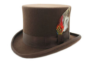 Brown-Wool-Top-Felt-Hat-With-Feather-Matching-Ribbon-Band-And-Satin-Lining