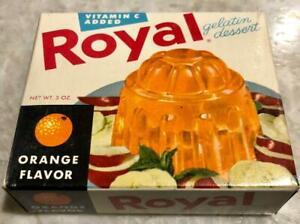 VINTAGE 1950's ROYAL Gelatin Dessert  ORANGE Flavor Full Box OLD STORE STOCK nos