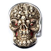 3D Gothic Evil Skull Skeleton Head Belt Buckle Lot Mens Design Motorcycle Tattoo