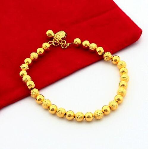 """Fashion Bijoux 24K Plaqué Or Bouddha Perles Unisexe Chaîne Bracelet 6 mm 8/"""" jH047"""