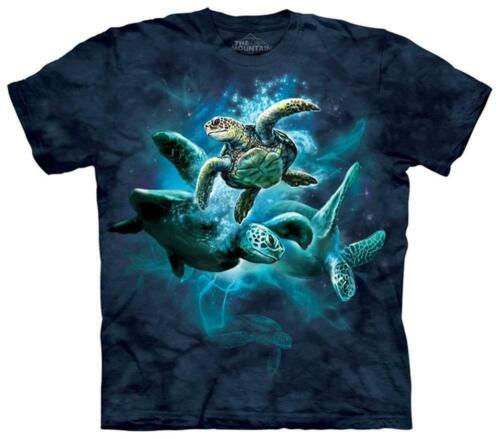Sea Turtle Collage Blue Ocean Water The Mountain Aquarium Animal Kids T-Shirt XL