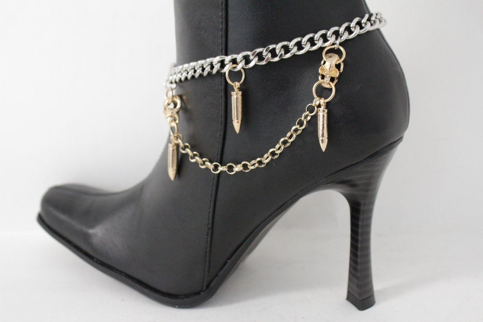 Women Silver Metal Boot Chain Bullet Shoe Skull Shoe Charm Biker Fashion Jewelry