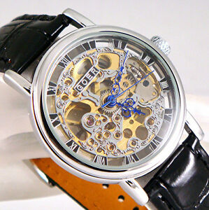 Plata-Mecanico-De-Cuerda-Esqueleto-Steampunk-Cuero-Negro-Reliquia-Reloj-Unisex