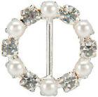 Vision Trims 93293 Genuine Rhinestone Buckle 30mm Circle-silver-pearl