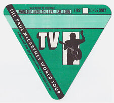 PAUL McCARTNEY 1989 World Tour TV Crew Backstage Pass, Unused Mint- Green