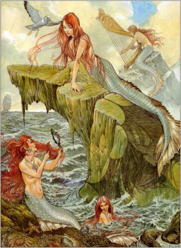 Oil Painting mermaid,sea,girl 12X16 Home Decor ,QUALITY Canvas Print