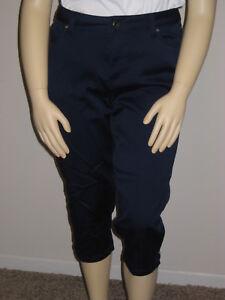 Capris Plus extensible 5 satinette pour femme marine en Catherines 16w poches Bleu HdHrqxSXw