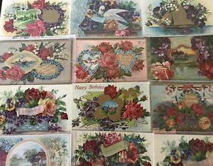Lot-of-12-Fancy-Doves-Birds-Roses-Flowers-Vintage-Greeting-Postcards-a-40