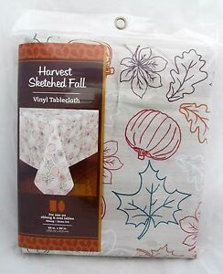 Pumpkin-Autumn-Leaves-Vinyl-Tablecloth-Thanksgiving-Fall-Table-Cover-Oval-Oblong