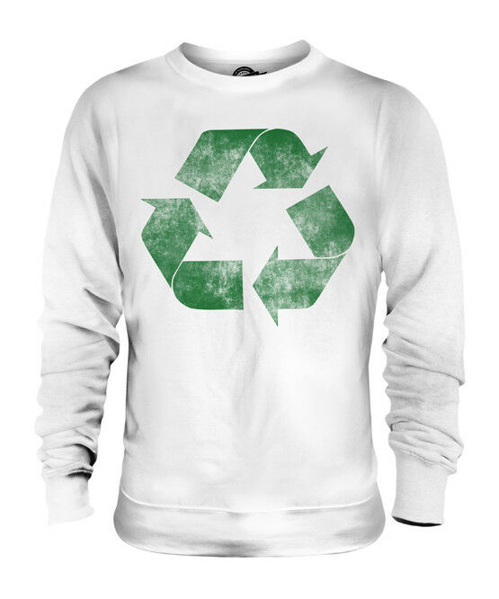 RECYCLE DISTRESSED PRINT UNISEX SWEATER GEEK TOP ENVIRONMENT ECO WARRIOR