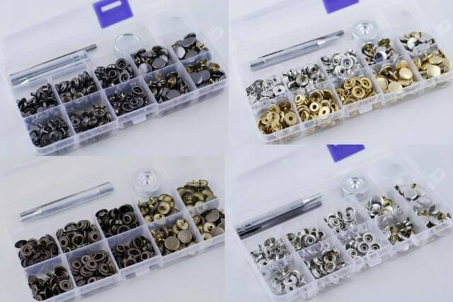 12//15//17mm 50 Sets DIY Press Studs Kit Snap Fasteners Poppers Buttons with Tool