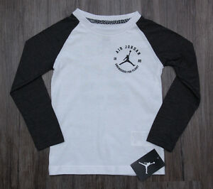 0380b5e45270fb Air Jordan Boy Long Sleeve T-Shirt ~ Charcoal Gray   White ~ Jumpman ...