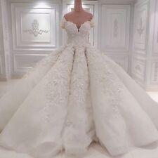 Luxus Weiß Perlen Brautkleid Ballkleid Spitze Abendkleid Marriage Hochzeitskleid