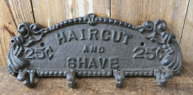 """13/"""" Haircut and Shave Cast Iron Wall 4-Hook Coat Towel Clothes Rack Etc"""