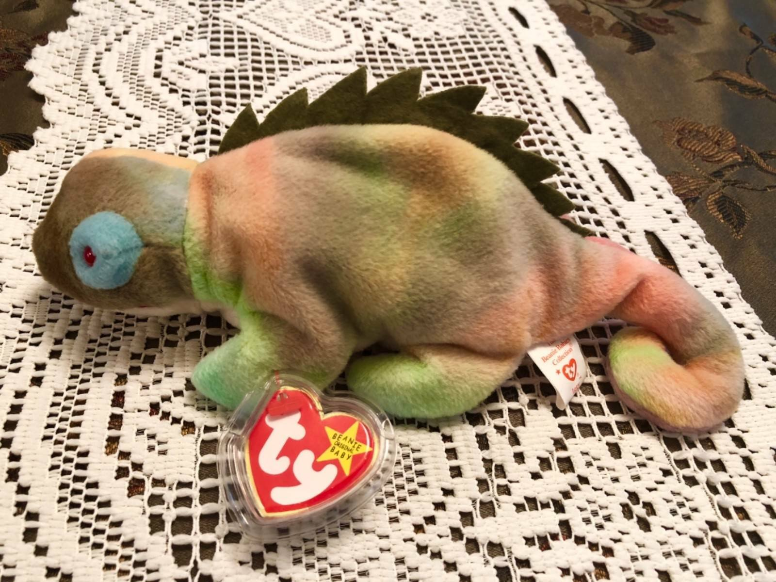 TY Beanie Baby Baby Baby Iggy the Iguana unique coloring with tag errors retired 0e8526