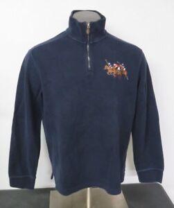 manica Ralph 2 L Polo Zip lunga Navy Blu Maglione Taglia 1 Lauren Pony Big RqppwdU7