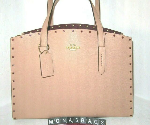 550010fed40774 Coach 38629 Charlie Crystal Rivets Nude Pink Leather Carryall Tote Bag NWT  $450