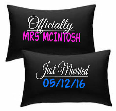 Officially Mrs your name just married wedding date print pillowcase set white