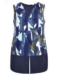 New-Ex-NEXT-Blue-Wrap-Sleeveless-Step-Hem-Blouse-Top-Size-12-22-Abstract-Print