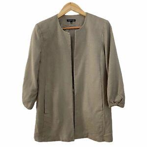Eileen-Fisher-Textured-100-Silk-Open-Blazer-Jacket-Taupe-Pockets-Size-Small