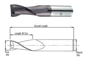 Cobra Carbide 24000 1 MM Carbide End Mill 2 FL Uncoated Metric OAL 38 MM