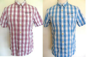 M Men/'s Short Sleeve Shirt Striped Blue Cotton FLEXED Sizes XXL Firetrap
