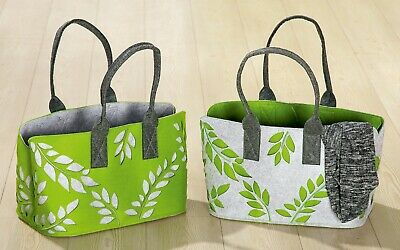Filz Tasche zur Wahl Rot Grün Grau Einkaufen Beutel Henkel Shopper Landhaus