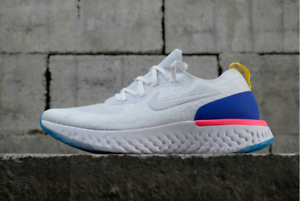 2cd593e654ebc Nike Epic React Flyknit White Racer Blue Pink Blast AQ0067-101 All ...