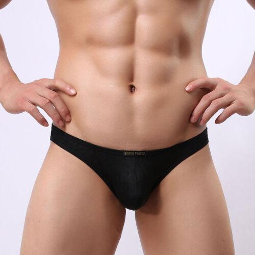 Men Floral Briefs Mesh Translucent Low Rise U Convex Semi-Sheer Underwear Bikini