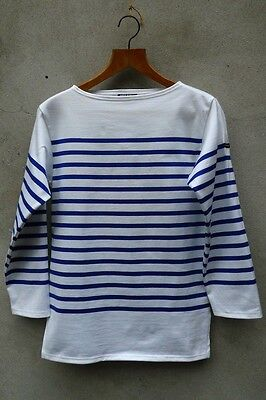 100/% Cotton by Saint James Guildo Striped Breton Shirt Navy /& Pine Green