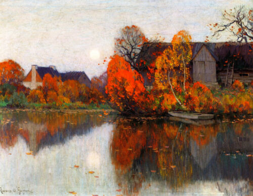 The Pond in October     by Clarence Gagnon   Giclee Canvas Print Repro