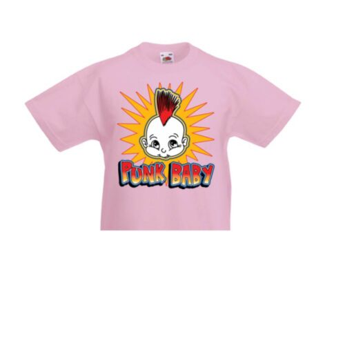 Baby//Kinder T Shirt in Rosa Irokesen Punk Biker-/& Choppermotiv Punk Baby