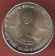 INDIA 5 RUPEES 2013 SWAMI VIVEKANANDA 150 BIRTH ANNIVERSARY 2 COINS LOT