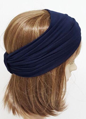 Turban headband navy blue headband wide headband top knot turban headband
