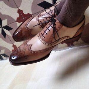 100% De Qualité Fait Main Homme Marron Richelieu à Bout D'aile Chaussures Hommes Oxford Lacets Chaussures-semelle En Cuir-afficher Le Titre D'origine Performance Fiable