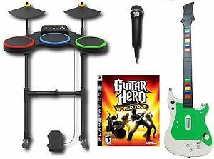 ps3 guitar hero world tour complete set bundle wireless kit drums mic game rare 47875954793 ebay. Black Bedroom Furniture Sets. Home Design Ideas
