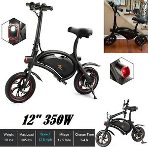 """Folding Electric Bike City Ebike Battery Motor Bicycle Portable 12"""" Tires Lights"""