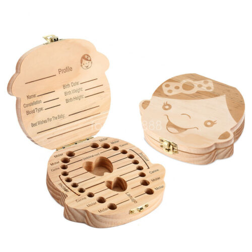 Kids Tooth Storage Box Boy Girl Baby Save Milk Teeth Organizer Wood Fairy Case