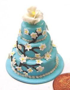 1-12-Scale-3-Tier-Blue-Wedding-Cake-Dolls-House-Miniature-Food-Accessory-F