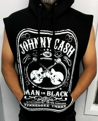 JOHNNY CASH SLEEVELESS HOODIES PUNK ROCK BLACK MEN/'S SIZES