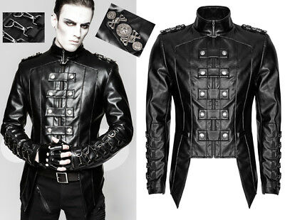 Leather Fitted Jacket Gothic Punk Military Dandy Braids Carabiner PunkRave Men